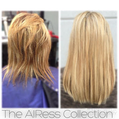 Before & After picture of girl wearing Malibu Blonde hair extensions for fine thin hair in AIRess Collection from Queen C Hair