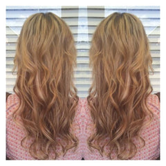 Girl wearing Blonde Sand Hair Extensions for fine thin hair - AIRess - Queen C Hair