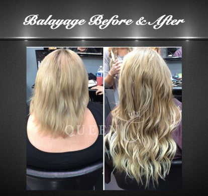 Girl wearing Balayage Ash Brown Ash Blonde Hair Extensions Before and After Hair Extensions