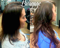 Girl wearing Dark Brown/Copper Red Balayage Extensions - Queen C Hair