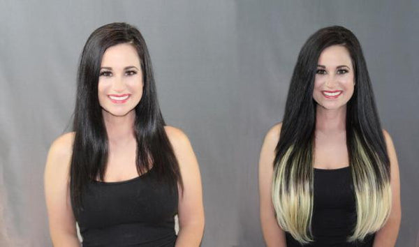 Before and After picture of girl wearing Balayage Hair Extensions from Queen C Hair