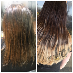 Girl wearing Chocolate Brown Dirty Blonde Balayage Extensions - Queen C Hair