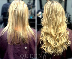 Before & After girl wearing blonde hair extensions for fine thin hair in AIRess Collection from Queen C Hair