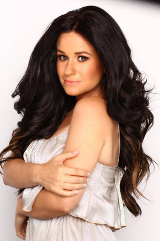 Lacy Garrison wearing Queen C Balayage Dark Brown Ash Brown Hair Extensions
