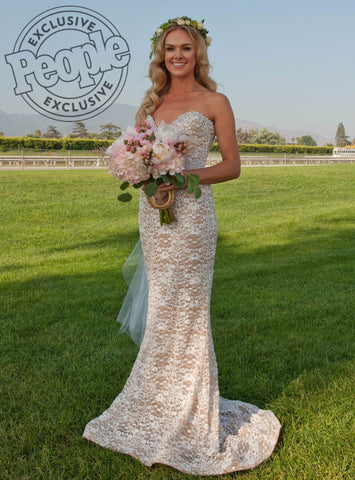 Laura Bell Bundy wearing Queen C Hair Extensions in People Magazine on Laura Bell Bundy Wedding Day