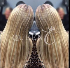 Lady wearing Malibu Blonde hair extensions for fine thin hair in AIRess from Queen C Hair