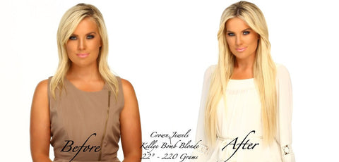 Allee Sutton girl wearing blonde hair extensions from Queen C Hair