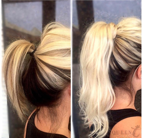 Before & After Picture of woman wearing human hair blonde ponytail extension by Queen C Hair