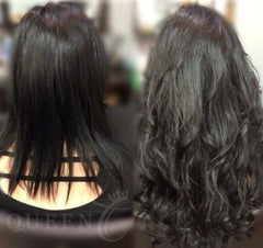 Before & after girl wearing jet black hair extensions for fine thin hair in AIRess Collection from Queen C Hair