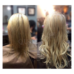 Before and after girl wearing highlights lowlights hair extensions for fine thin hair in AIRess Collection from Queen C Hair