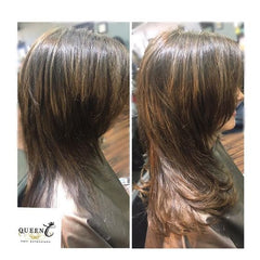before & after picture of girl wearing chocolate brown hair extensions for fine thin hair in the AIRess Collection from Queen C Hair