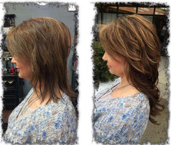 Before & After Girl wearing Chocolate Brown hair extensions for fine thin hair in AIRess Collection by Queen C Hair