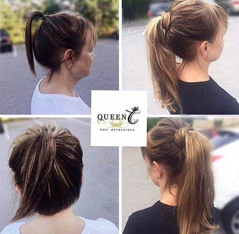 Before and after picture of a woman wearing a chocolate caramel human hair ponytail extension by Queen C Hair