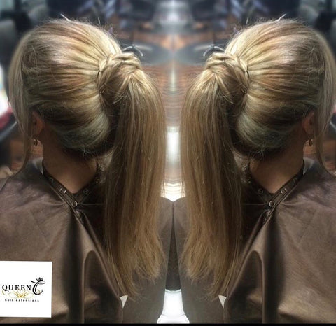 Girl wearing human hair ponytail extension by Queen C Hair