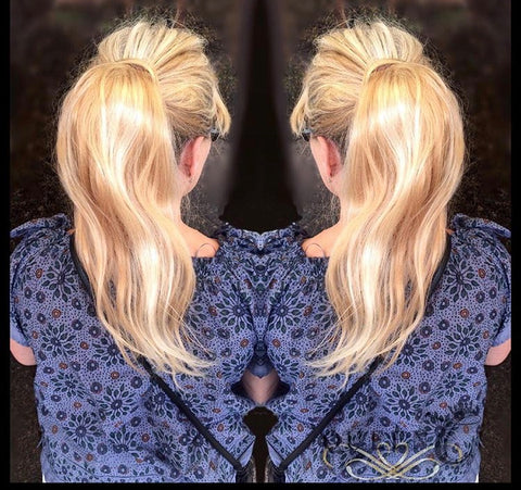 Blonde human hair ponytail extension by Queen C Hair Extensions
