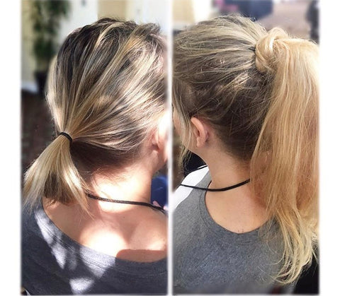 Before and after picture of woman wearing a blonde human hair ponytail extension by Queen C Hair Extensions