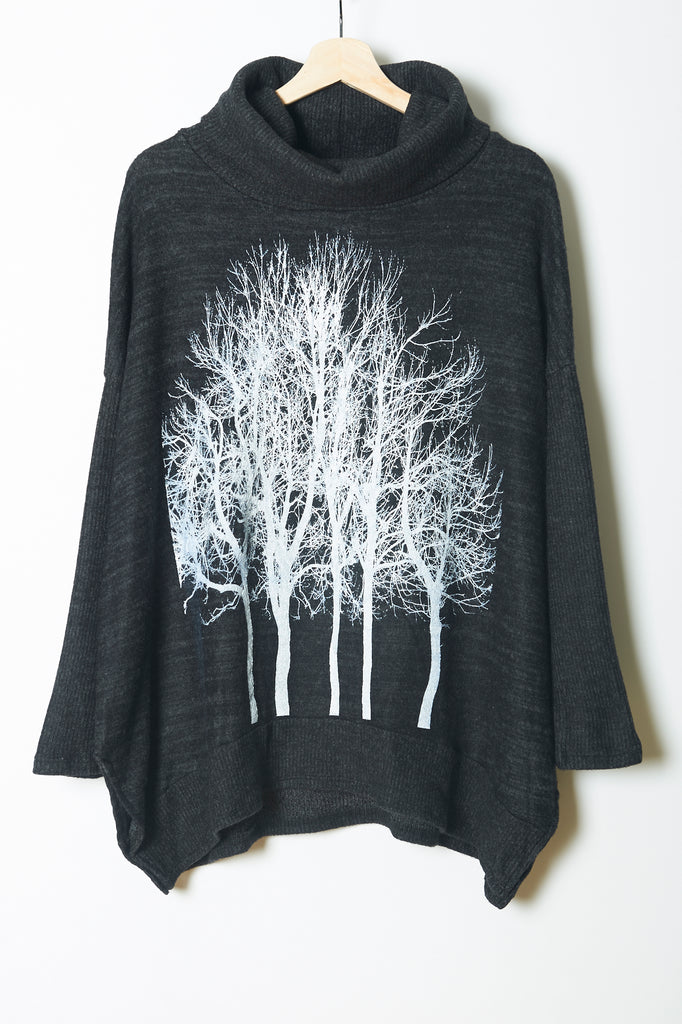 Fairytale Trees Poncho Charcoal