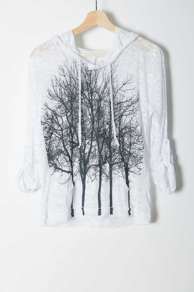 WABI SABI SALE Fairytale Trees Hoodie White with code is $30