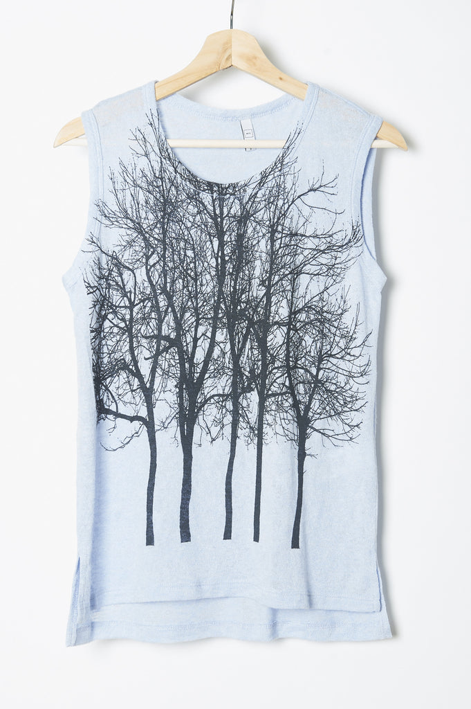 WABI SABI Fairytale Trees Cuff Tank Baby Blue- with discount code is $25.50