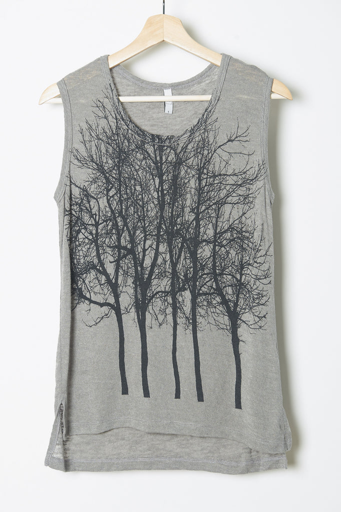 Fairytale Trees Cuff Tank in Light Grey