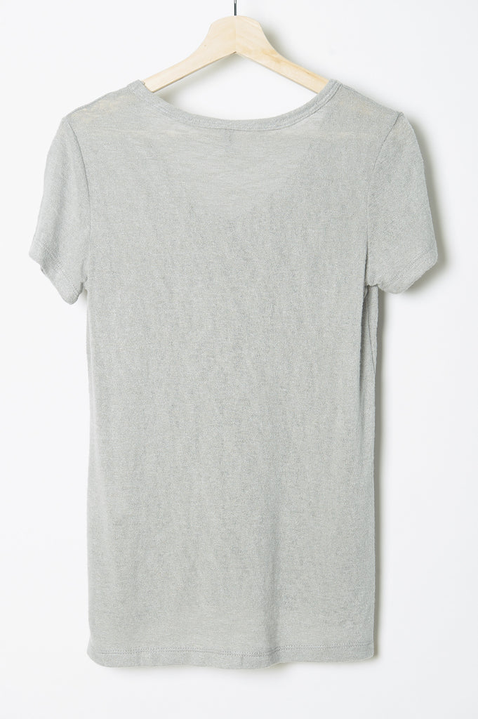 WABI SABI SALE Fairytale Trees Pocket Crew Tee Light Grey-with discount code is $24