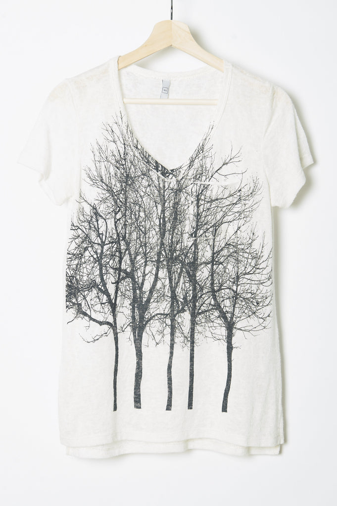 WABI SABI SALE Fairytale Trees Pocket Vneck Tee White - with code is $30