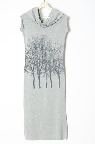 Fairytale Trees Pocket Tee in Grey on Marine Blue