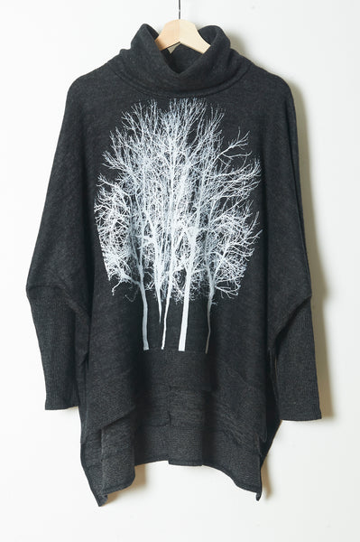 Fairytale Trees Poncho with Sleeves Charcoal