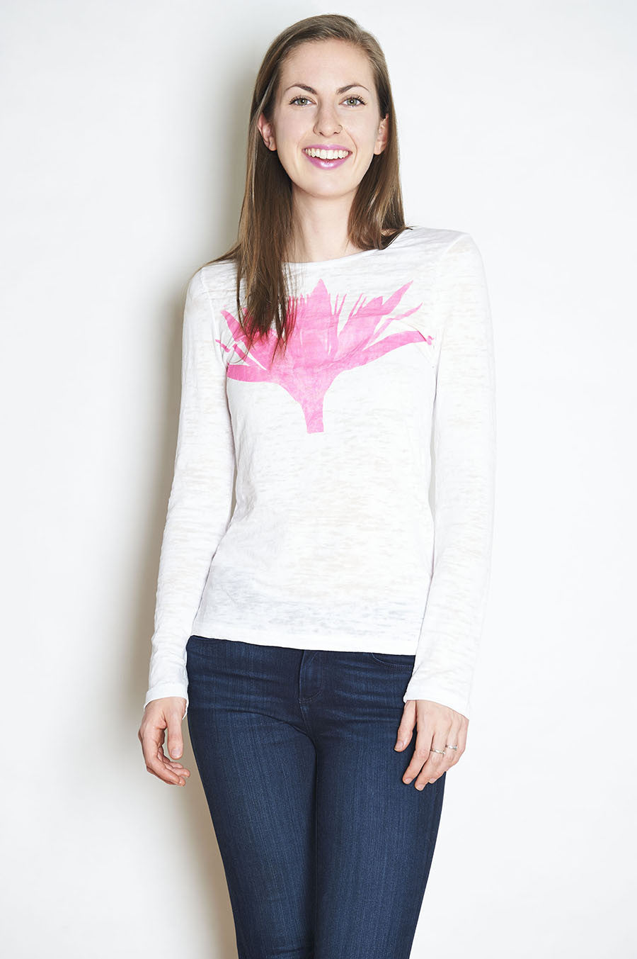 WABI SABI SALE Pink Lotus Long Sleeve Crew Neck Burnout Tee