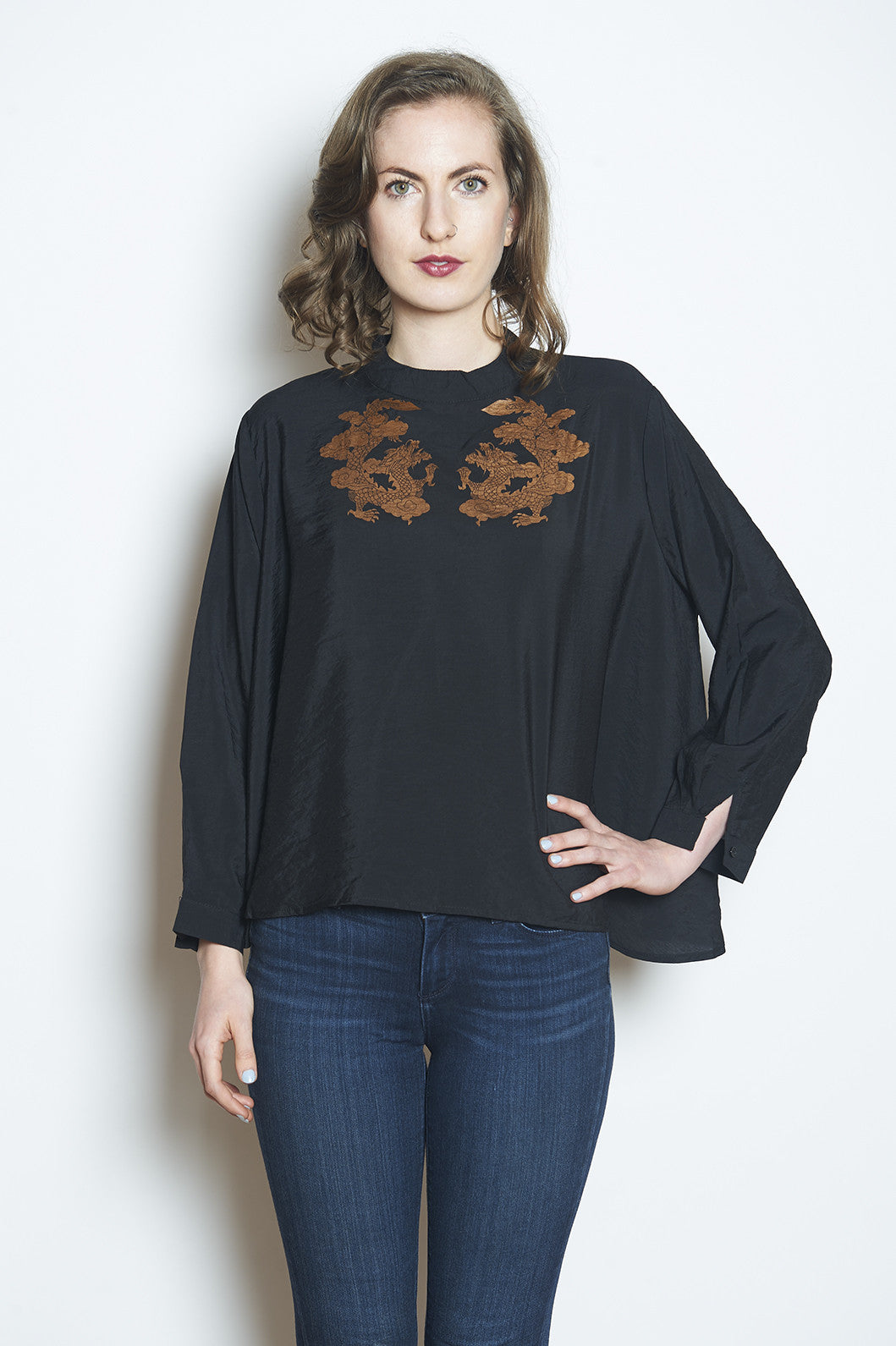 Wabi Sabi Sale Double Happiness top Black