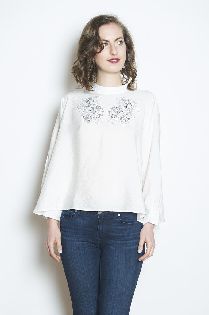 Double Happiness top White