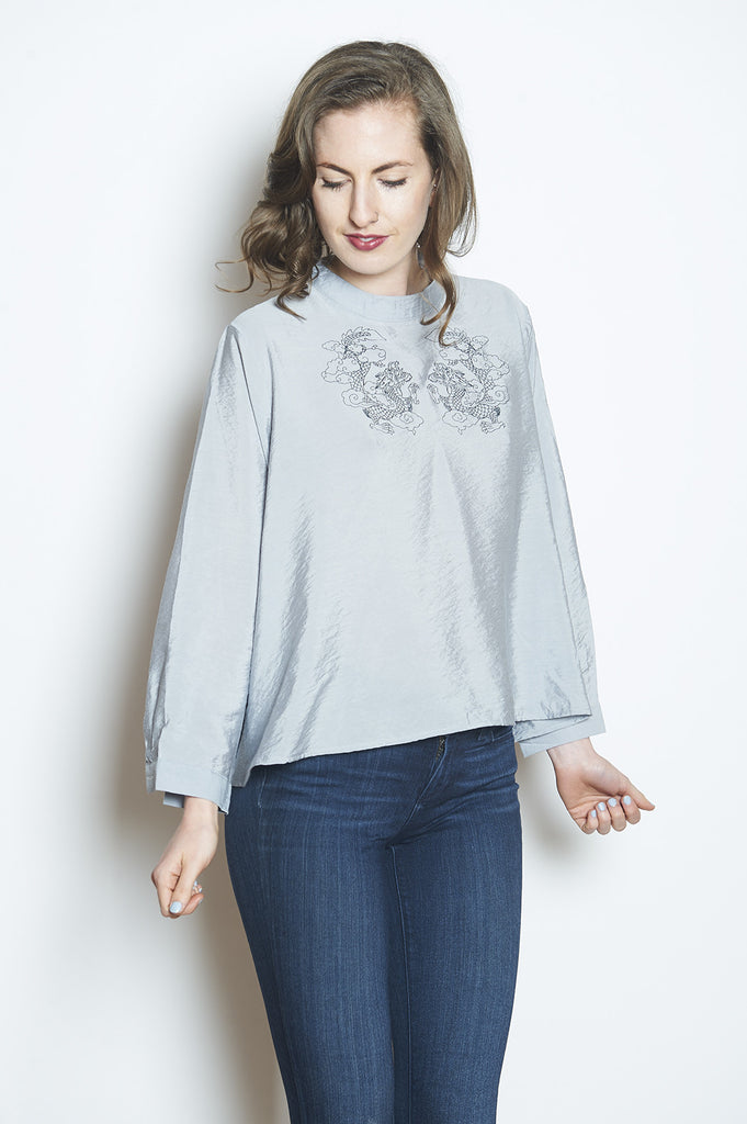 Double Happiness Top Light Gray