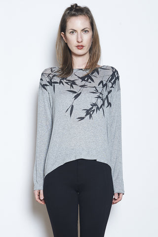 Fairytale Trees Pocket Vneck Tee Light Grey