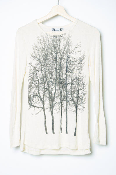 Fairytale Trees Crew Long Sleeve white