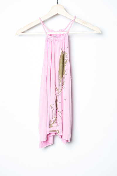 Peacock Feather Rope Tank Pink