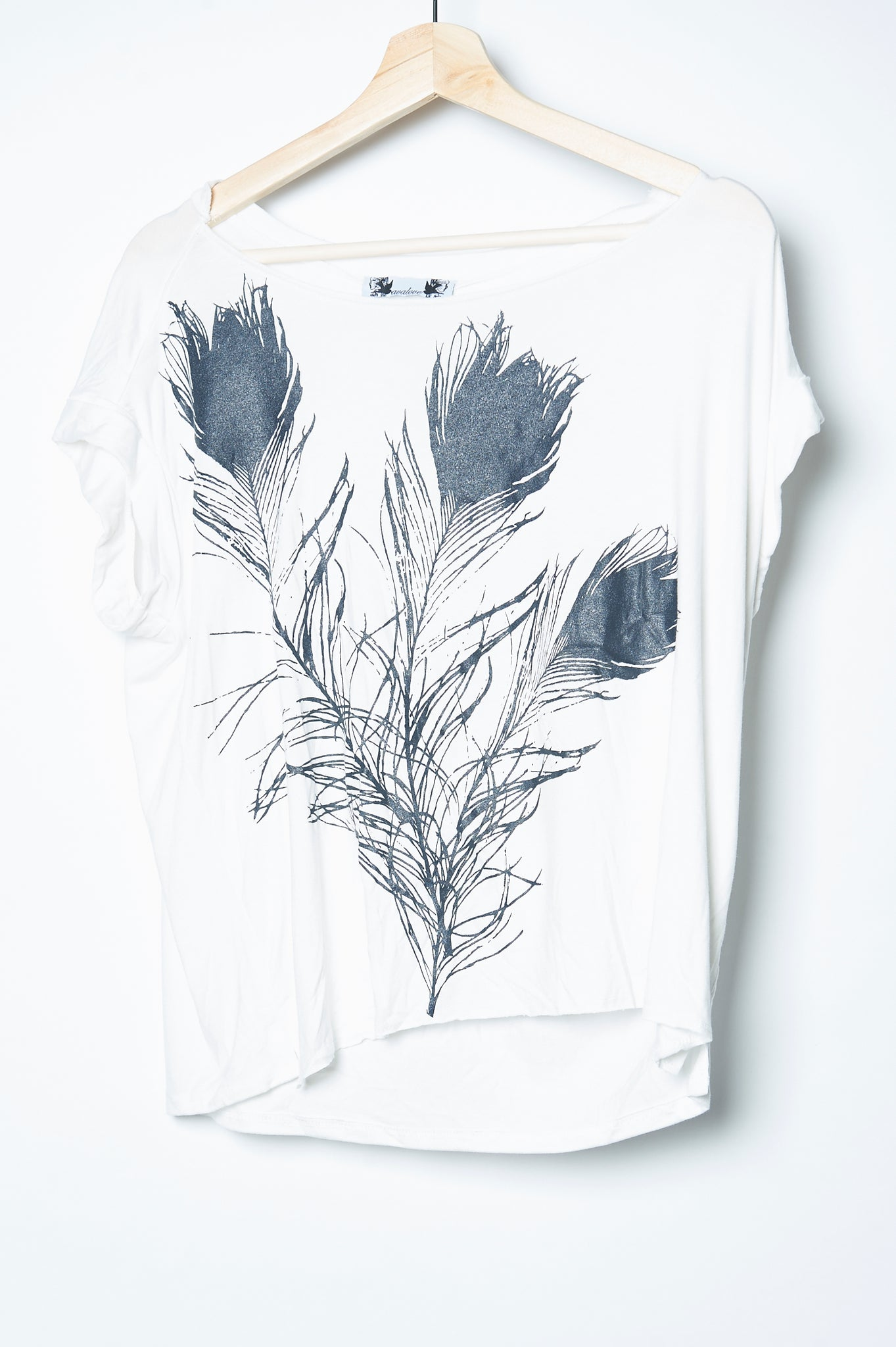 Peacock Feathers Boxy Top White