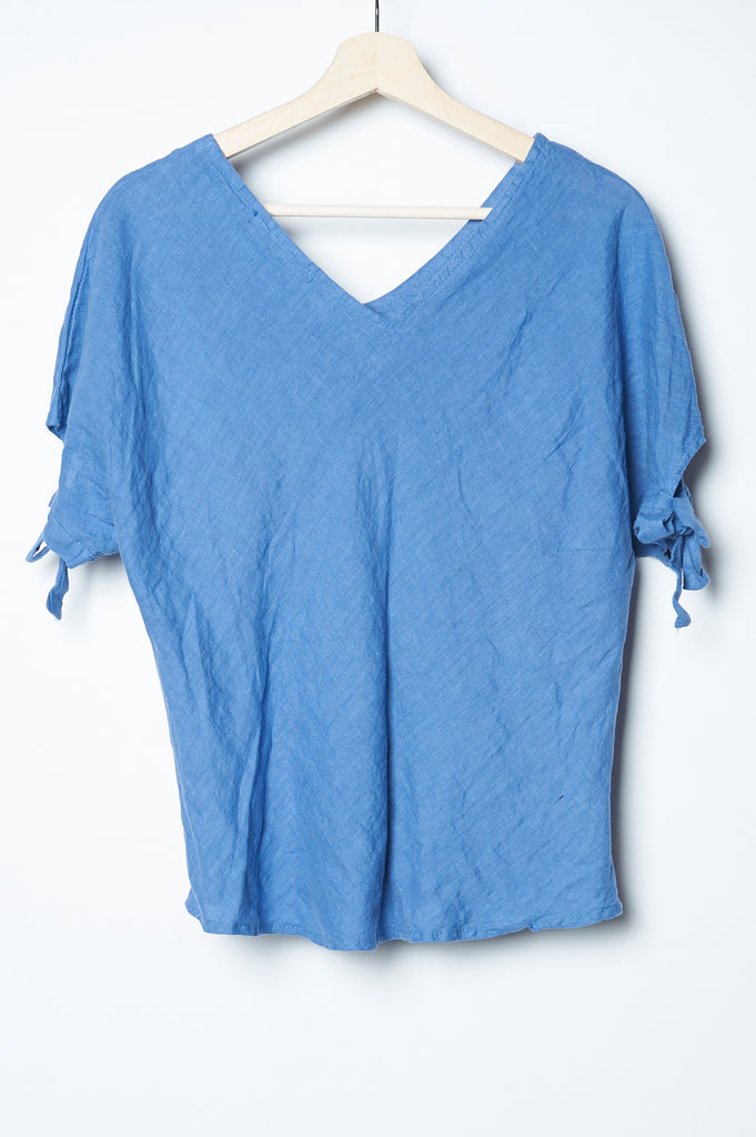 Single Tree Linen Ribbon Top Denim