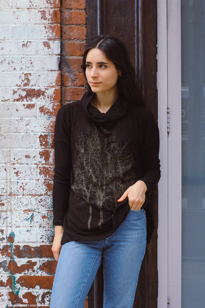Wabi Sabi Sale Black and Gold Cowl Sweater- SECOND