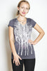 Wabi sabi Fairytale Trees Short Sleeve V-Neck in Charcoal with code $20