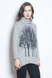 Fairytale trees cowl neck poncho light grey