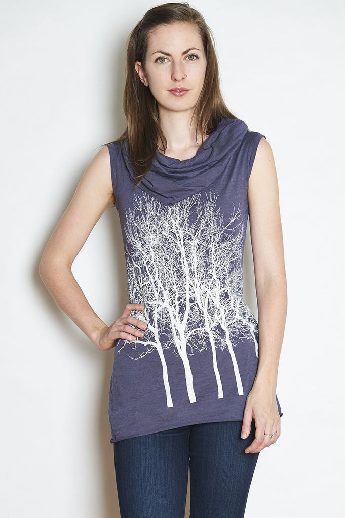 Fairytale Trees Sleeveless Cowl Tunic in Charcoal