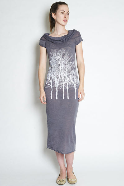 Fairytale Trees Cowl Dress in Slate
