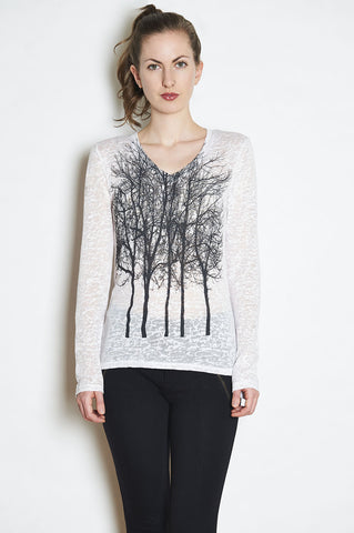 Wabi Sabi Sale Fairytale Trees Sleeveless Cowl Tunic in Charcoal-with discount code is $41.76