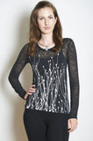 WABI SABI Field Long Sleeve Burnout V-Neck Tee