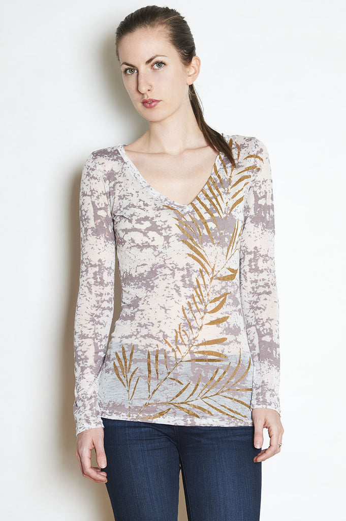 WABI SABI SALE Gold Leaf Long Sleeve V-Neck- with discount code is $22.50