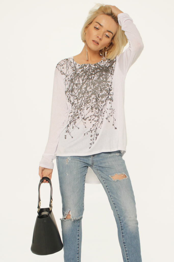 Wabi Sabi Sale Wildflower White Boxy Long Sleeve Tee-$43.50