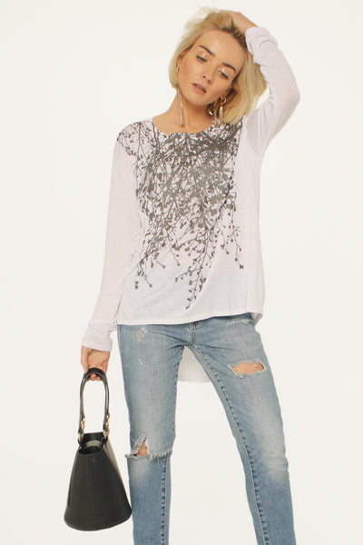 Wildflower White Boxy Long Sleeve Tee