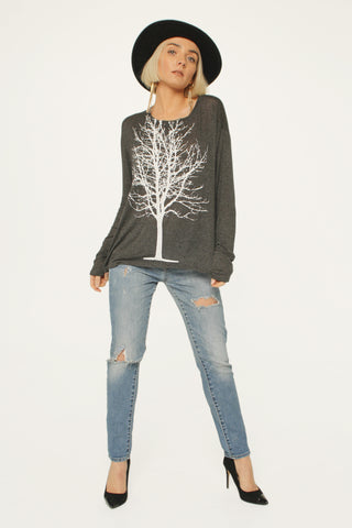 Fairytale Trees Sweater- Charcoal