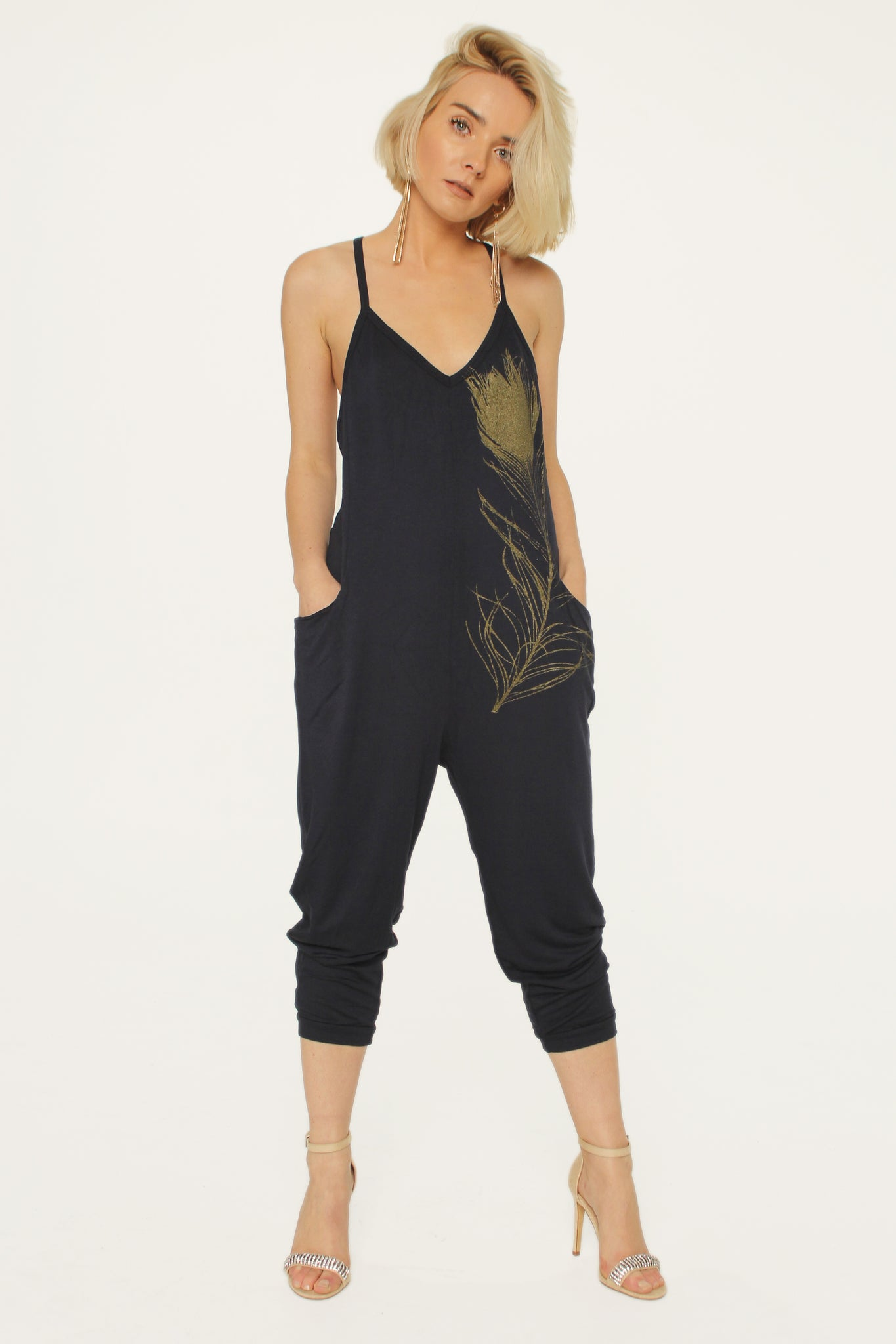 WABI SABI SALE Peacock Feather Jumpsuit Navy