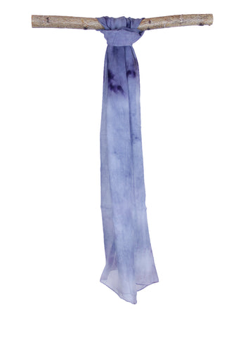 Flower Dyed Chiffon Scarf Indigo Dip Dyed Cloud Inspired
